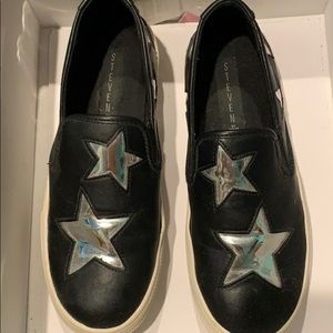 Silver mirrored star slip on sneakers